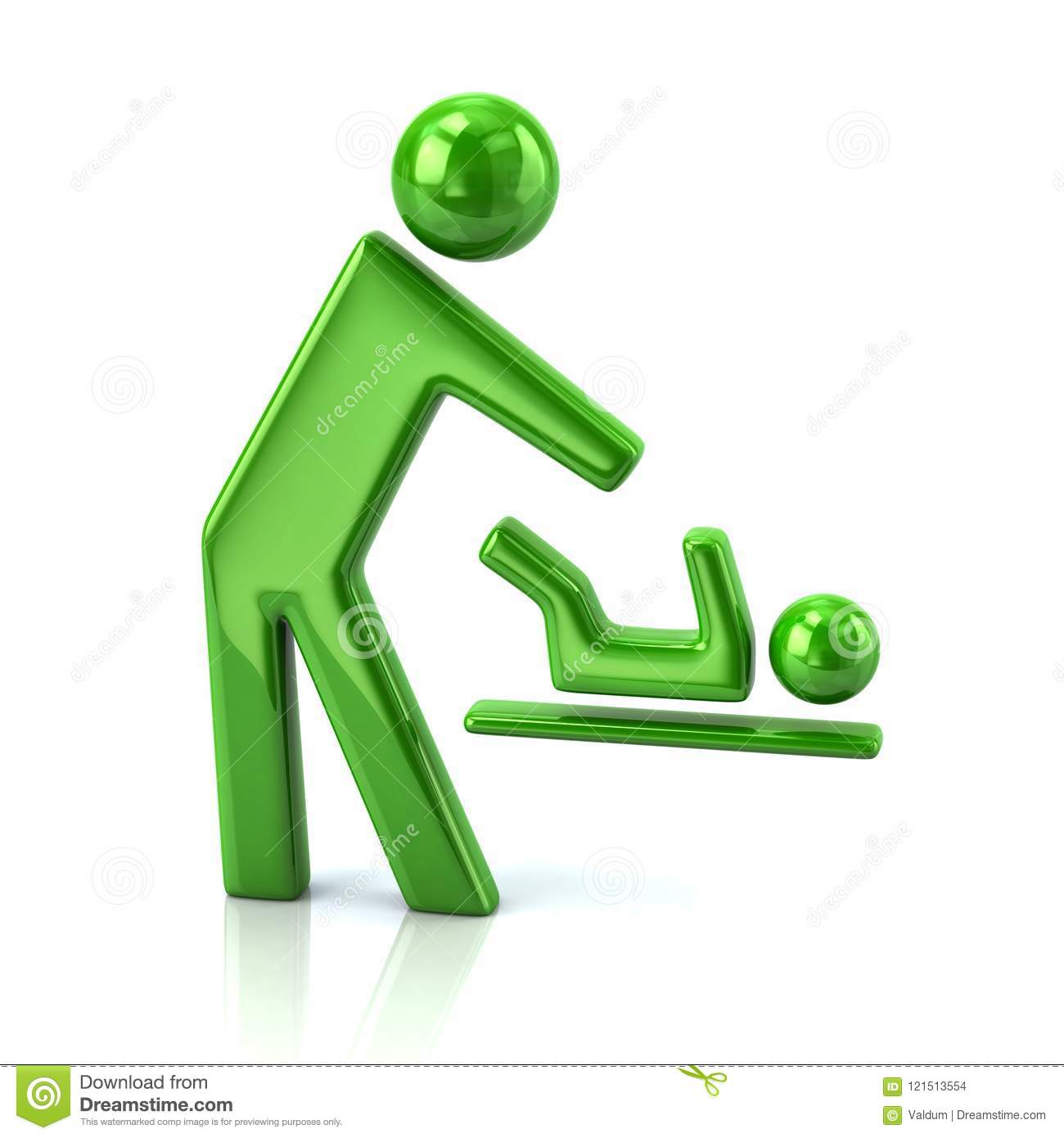 Green Symbol For Person And Baby Changing Diapers Icon Stock