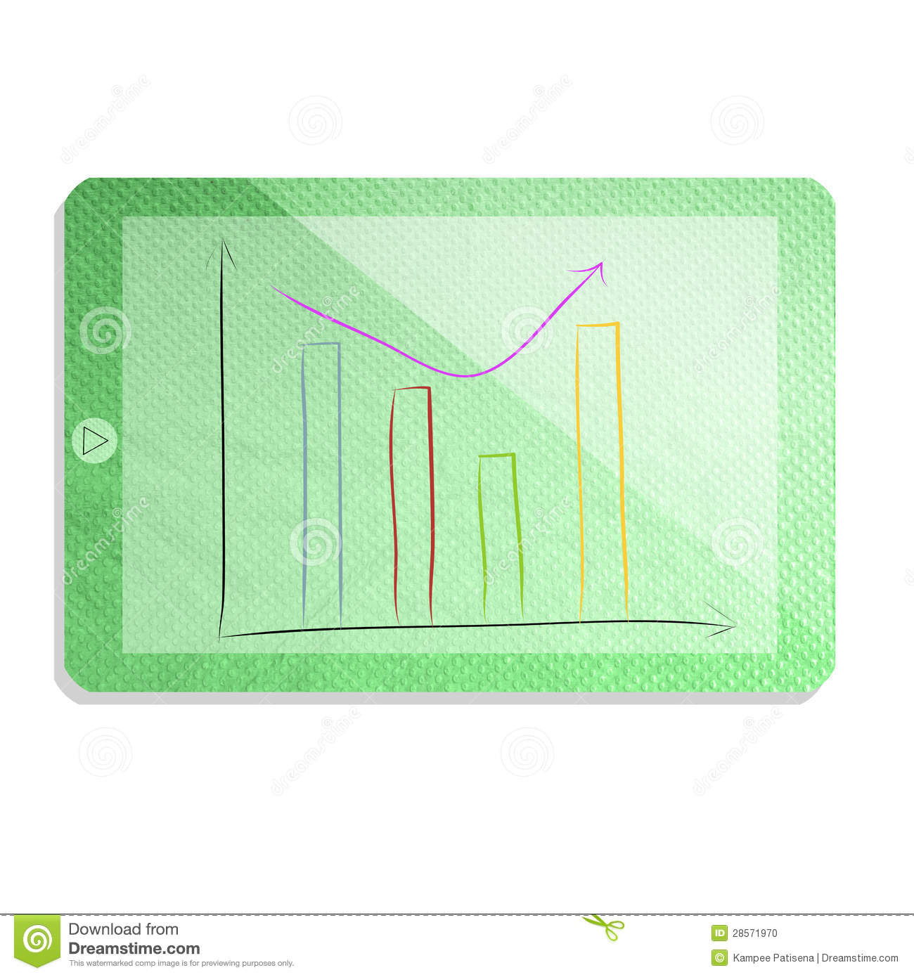 Green tablet with graph isolate made from tissue paper for Chart paper craft work