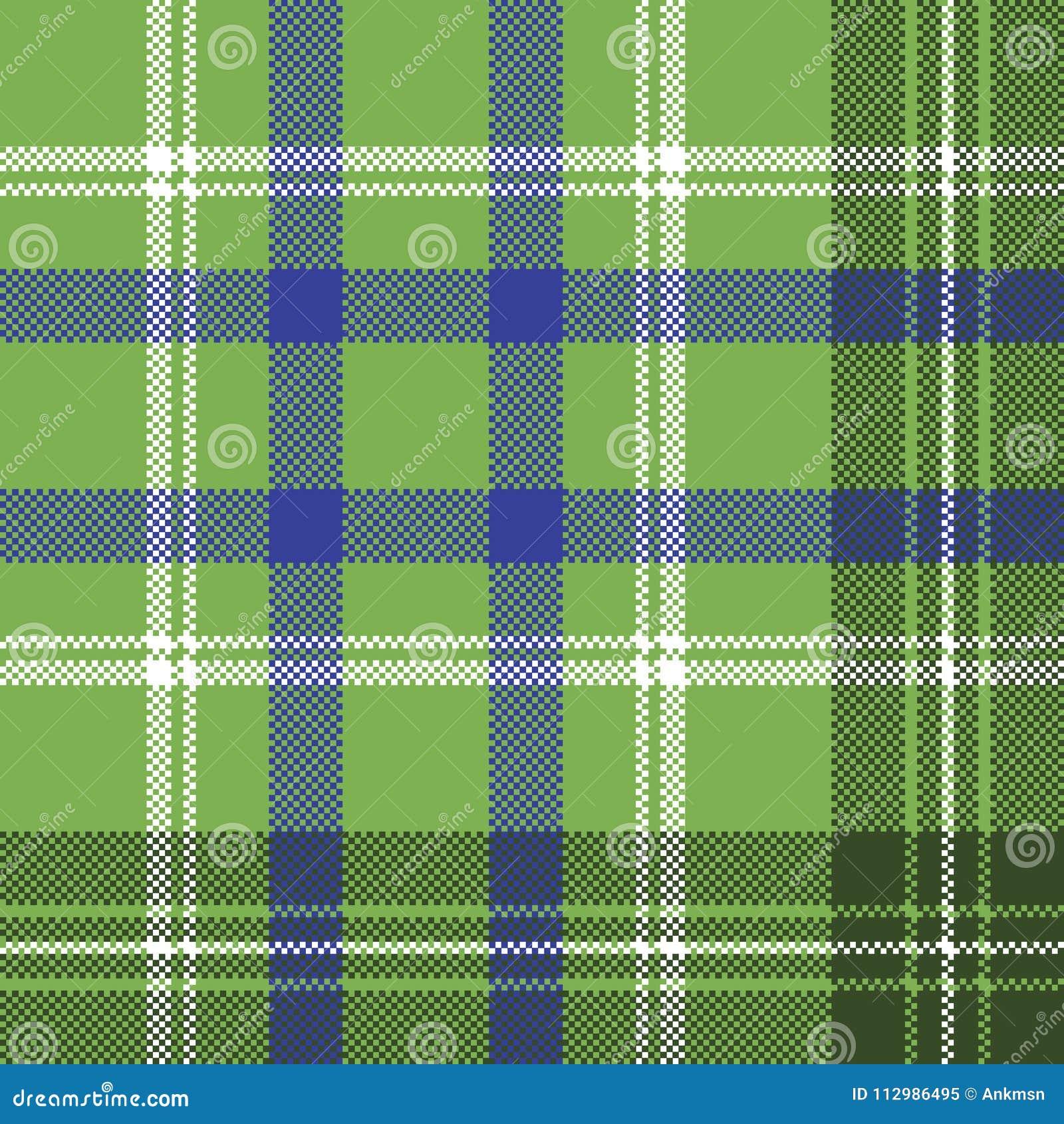 Green tartan check plaid seamless pixel pattern