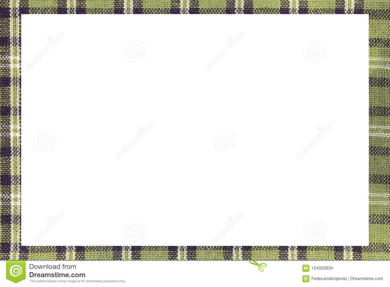 Green Tartan Type Scottish Frame With A White Space To Write A M ...