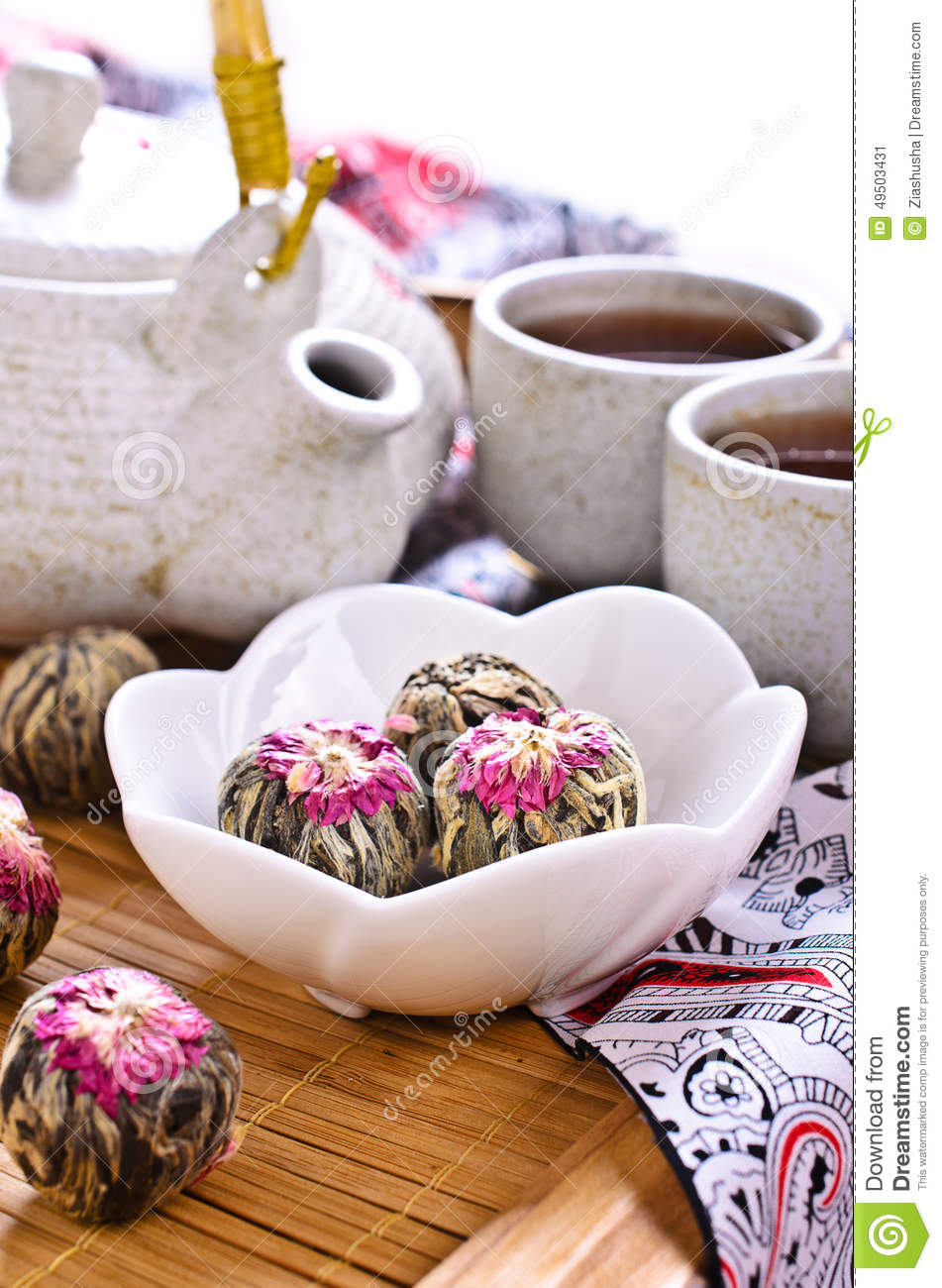 Green Tea In The Form Of A Ball With A Red Flower Stock Photo ...