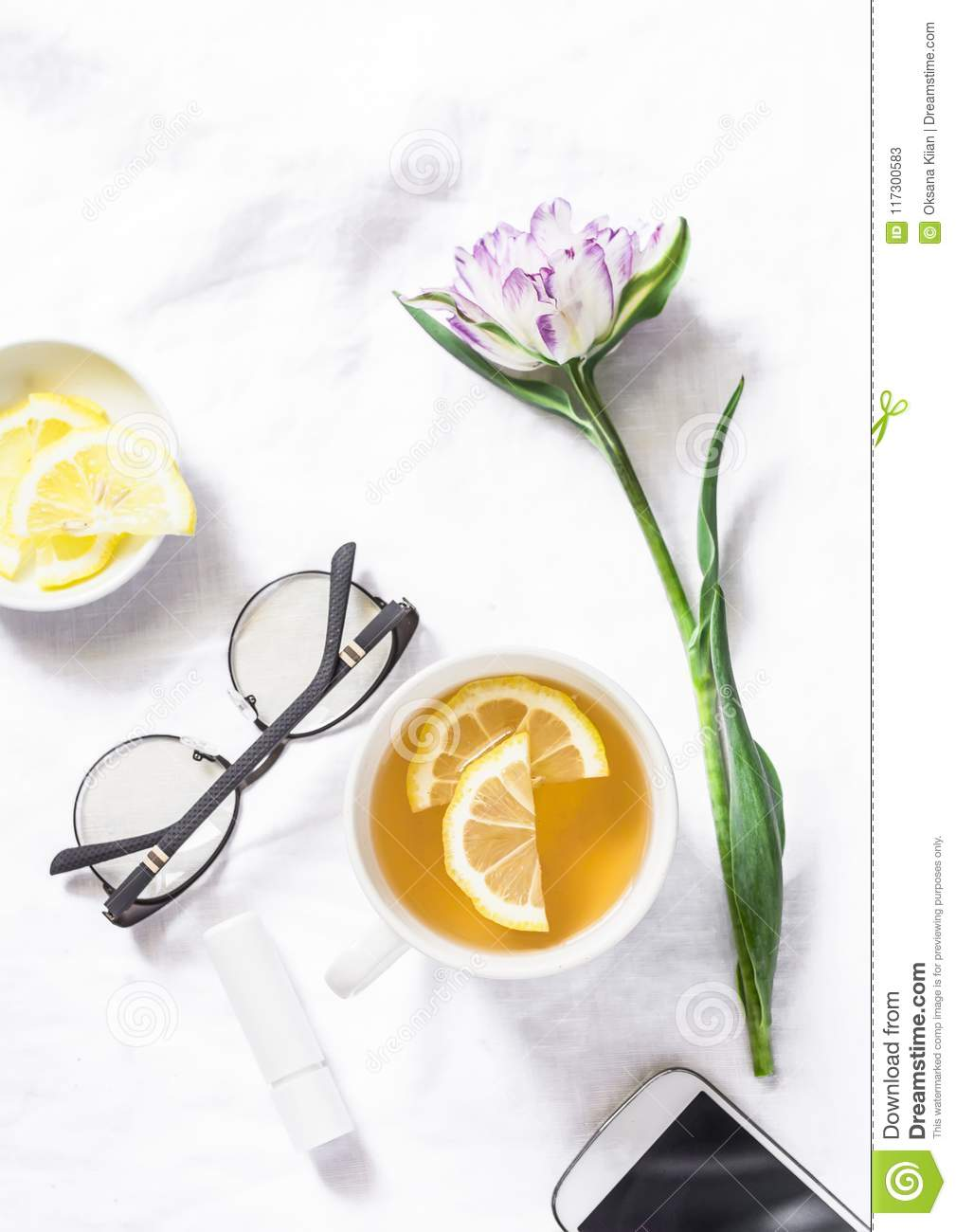 Green Tea With Lemon Tulip Flower Headphones Smartphone Free Relax Time Still Download Preview