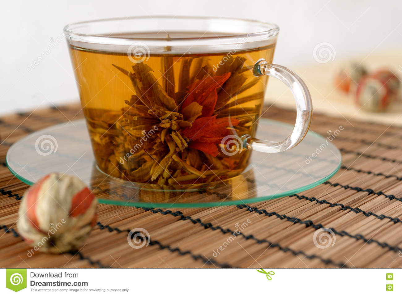 Green Tea With Lily Flower Stock Photo Image Of Nobody 72874120