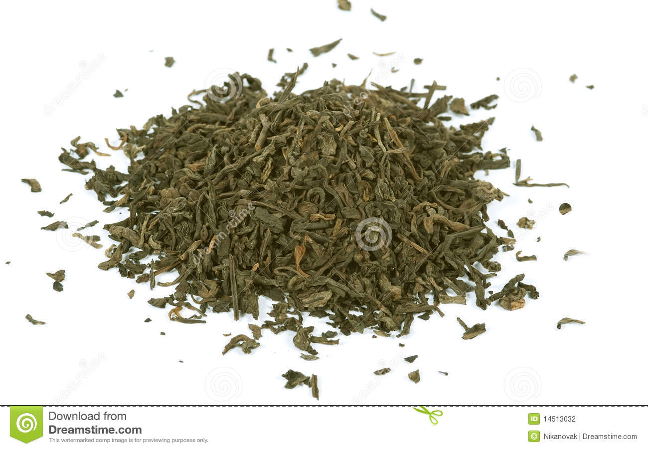 Green Tea Loose Leaf Isolated Stock Photo Image Of Plant Black