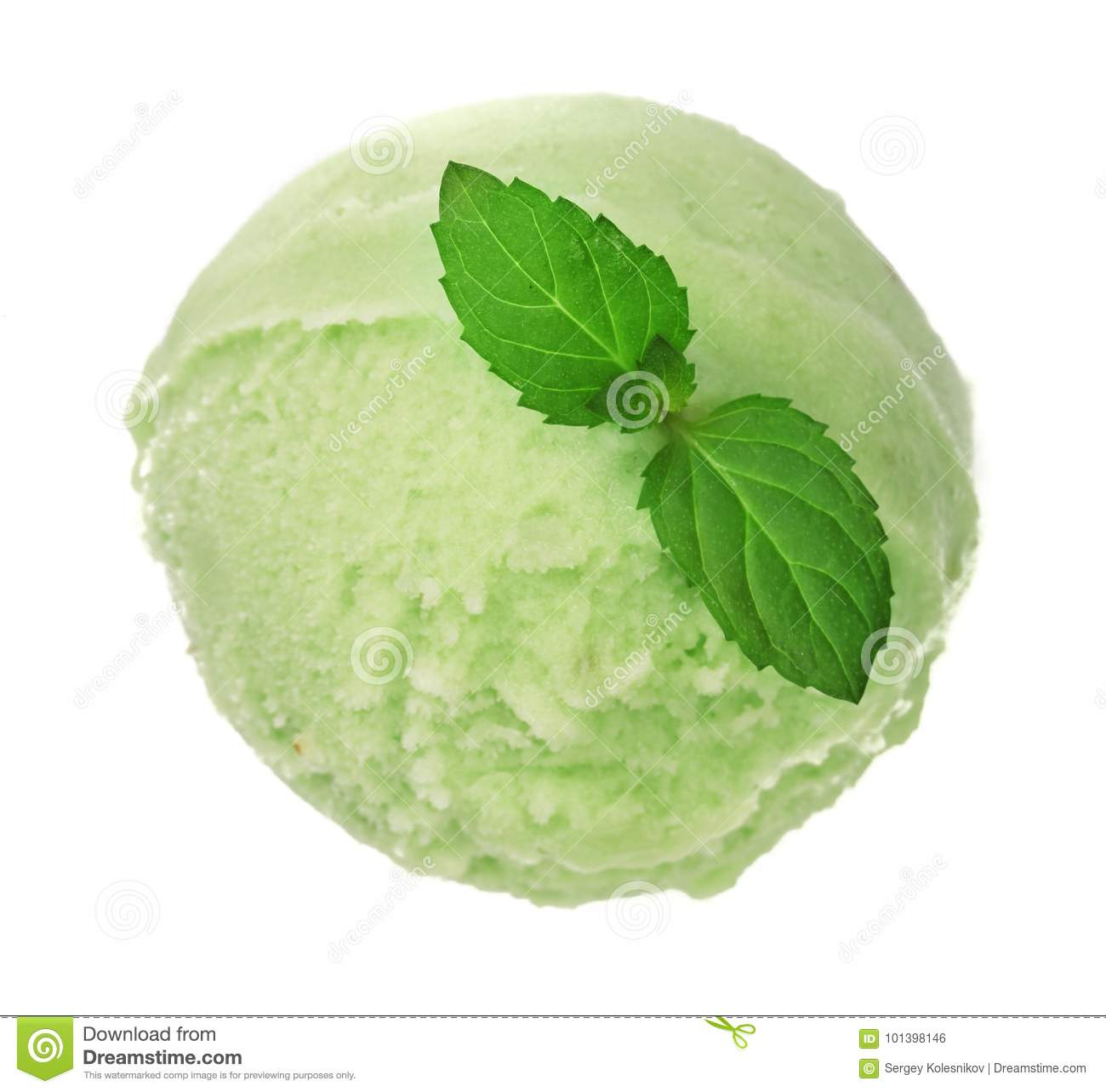 Green tea or pistachio ice cream ball with a mint leaf isolated on white background, top view