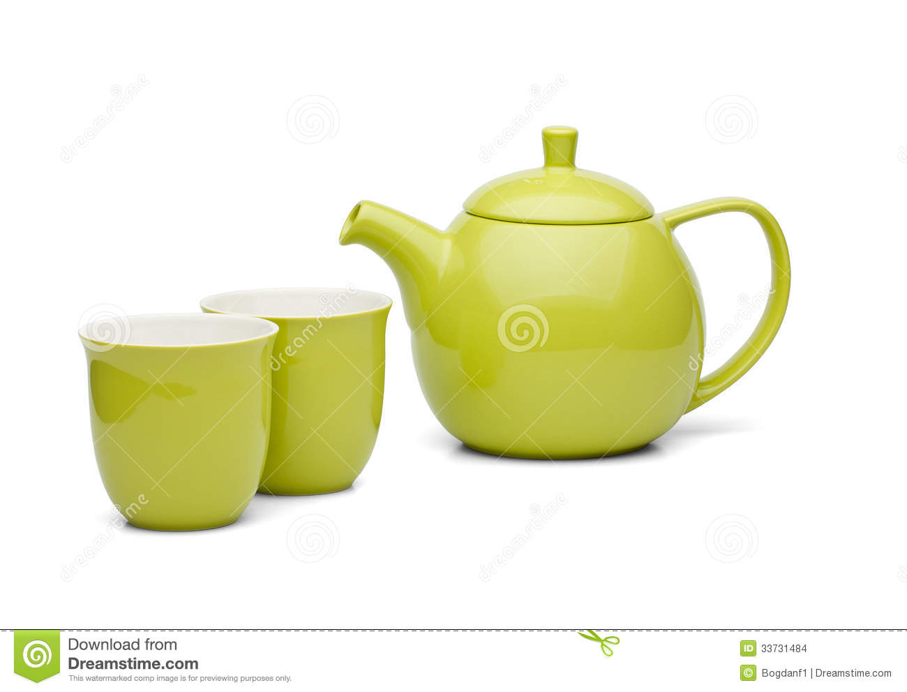 Tea pot with tea cups green set stock images image 33731484 Green tea pot set