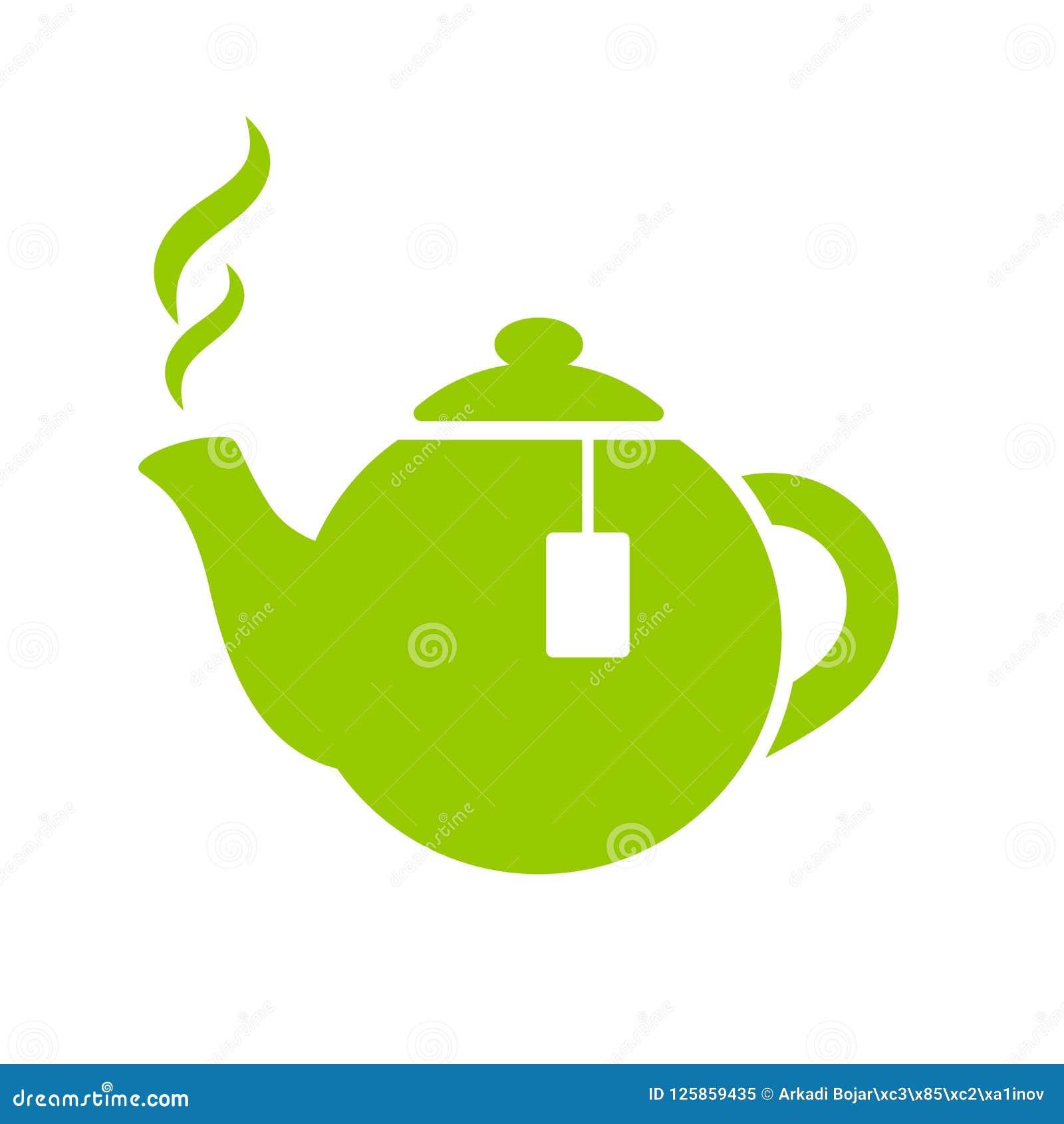 Green tea pot vector icon stock vector. Illustration of ...