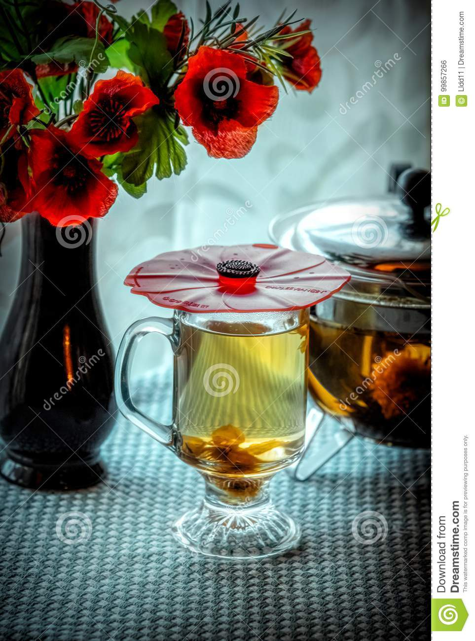 Green Tea And Poppies Stock Photo Image Of Glass Still 99857266