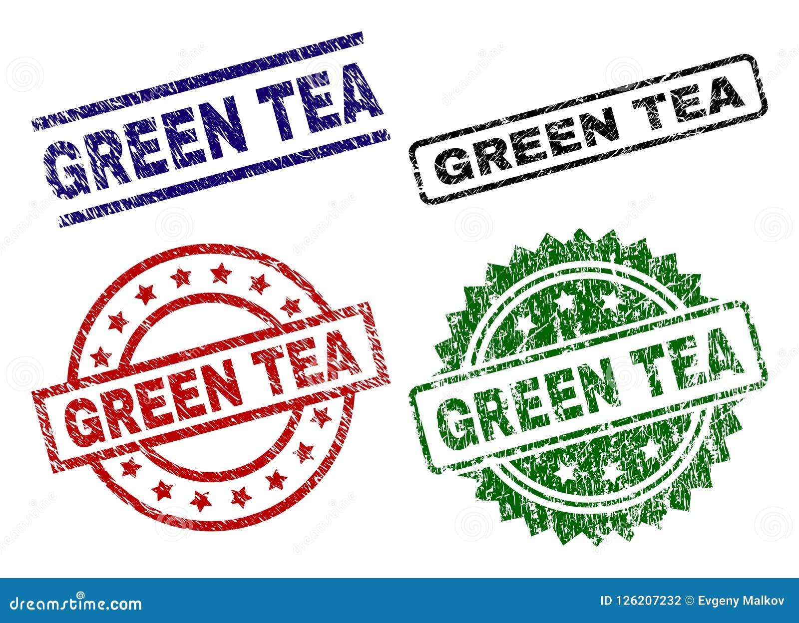 Damaged Textured GREEN TEA Stamp Seals