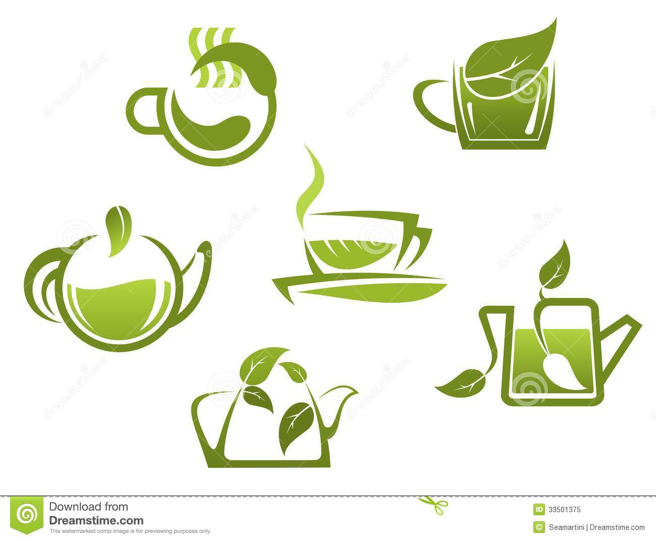 Green Tea Symbols And Icons Stock Vector Illustration Of Design