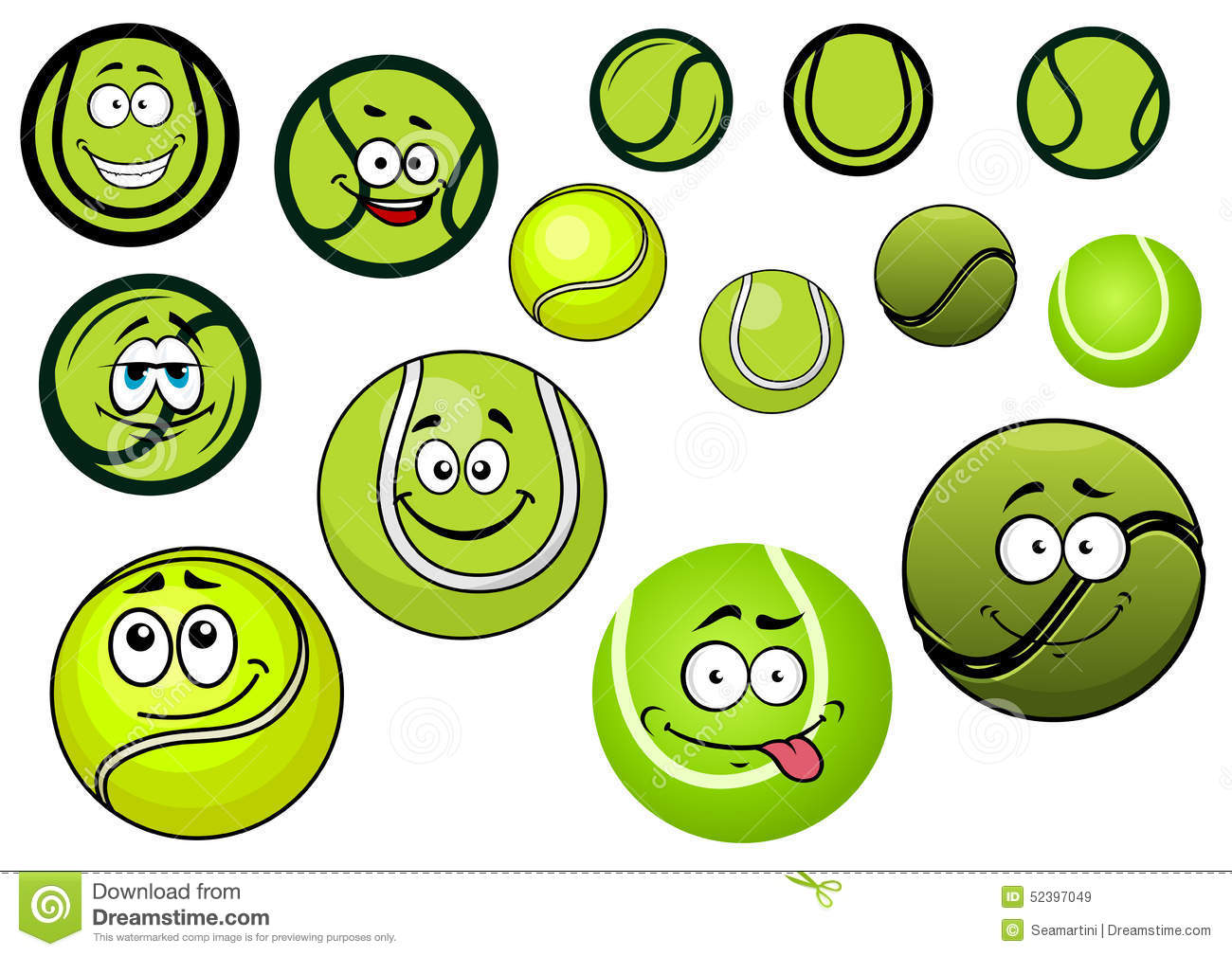 Green Tennis Balls Mascots Cartoon Characters Stock Vector Image 52397049