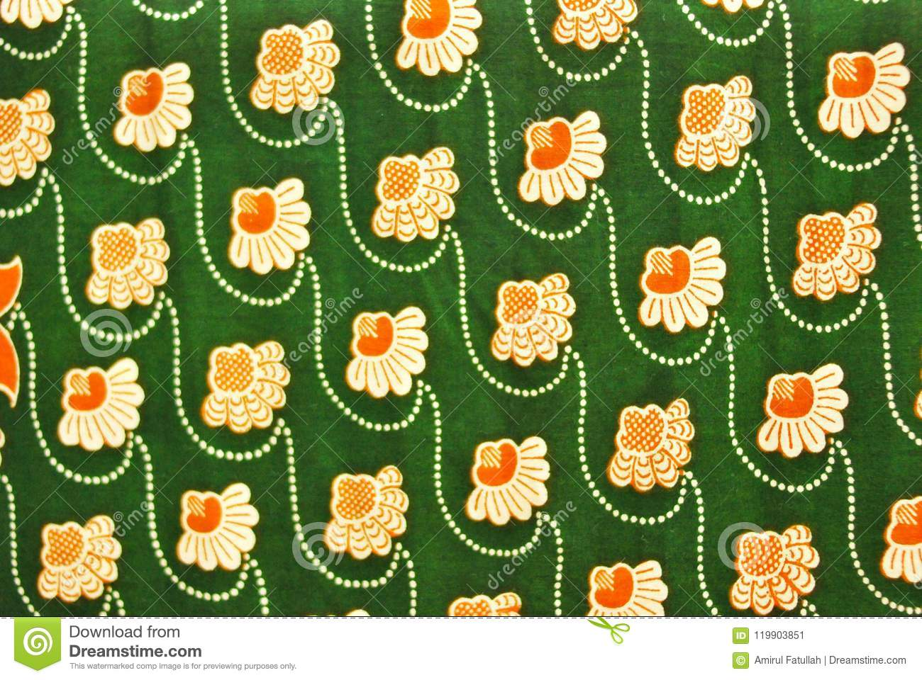 Green Textile texture background with flower patterns