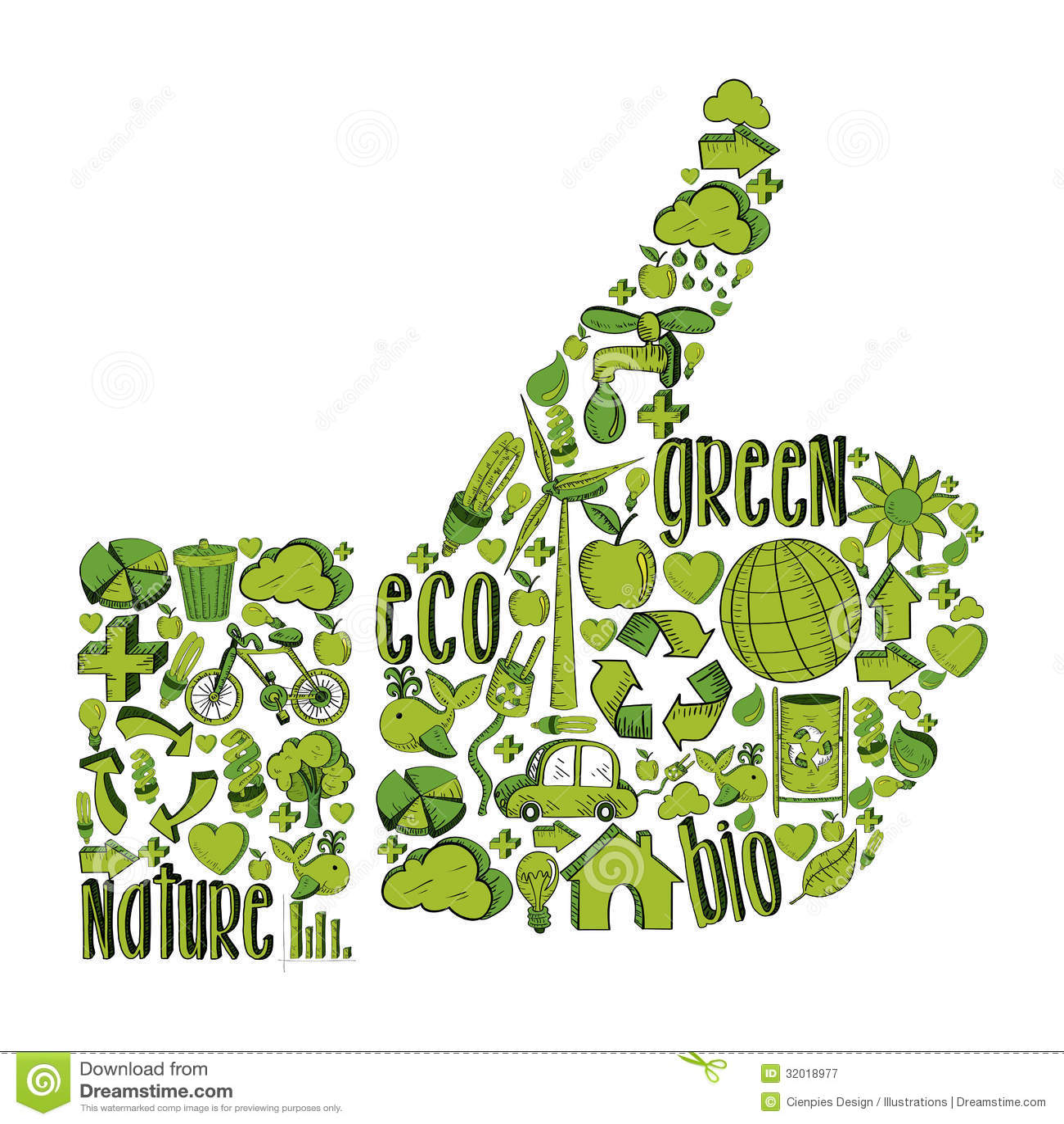 Green Thumb Up With Environmental Icons Royalty Free Stock