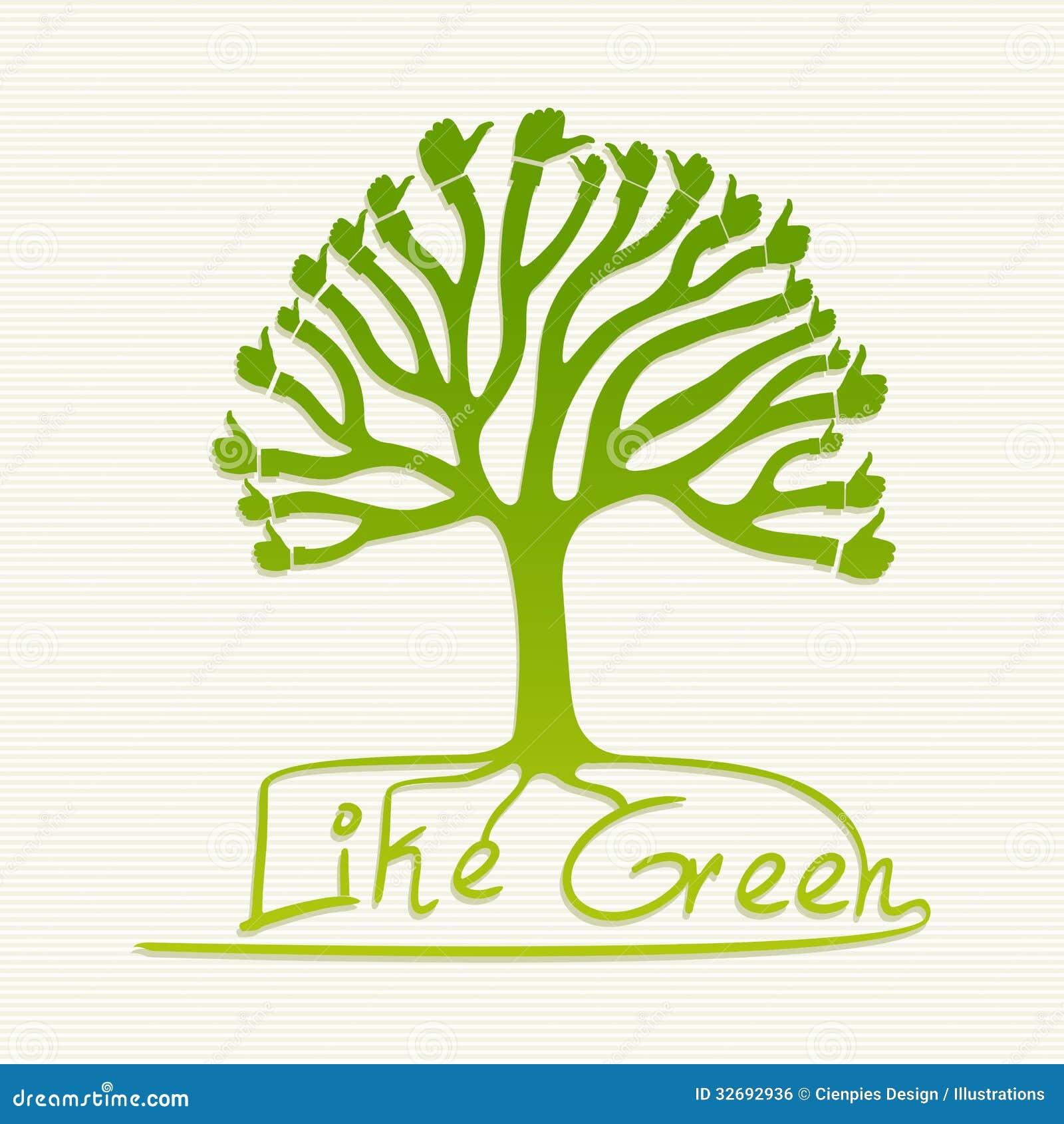 Green Thumb Up Tree Illustration Stock Vector - Illustration of ...