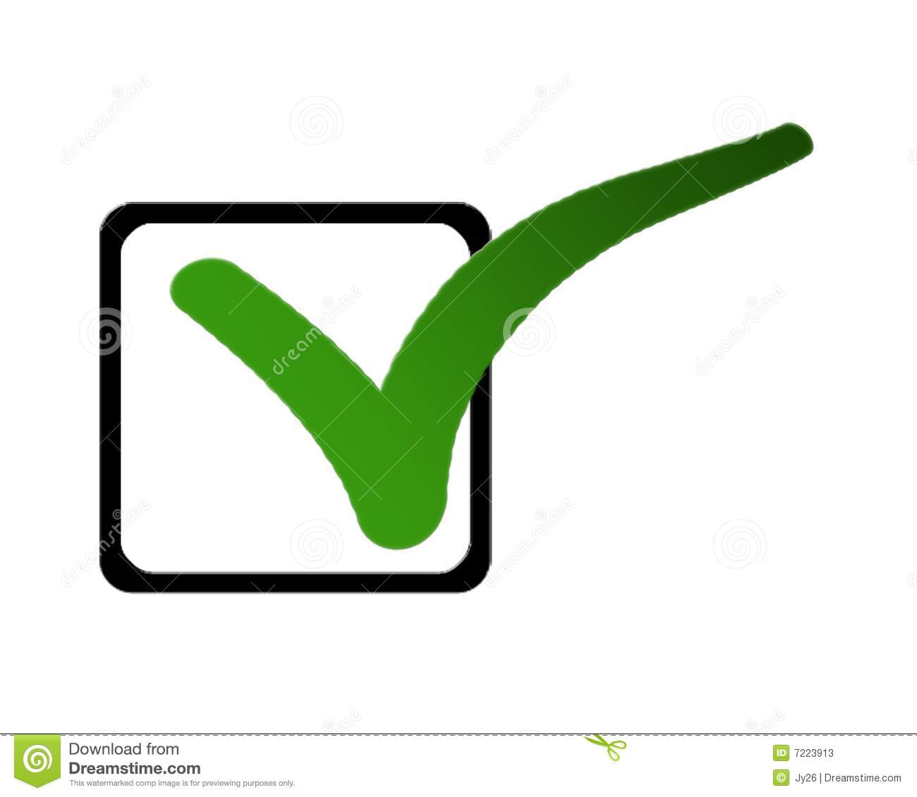 green tick symbol in a list of check boxes on a white background