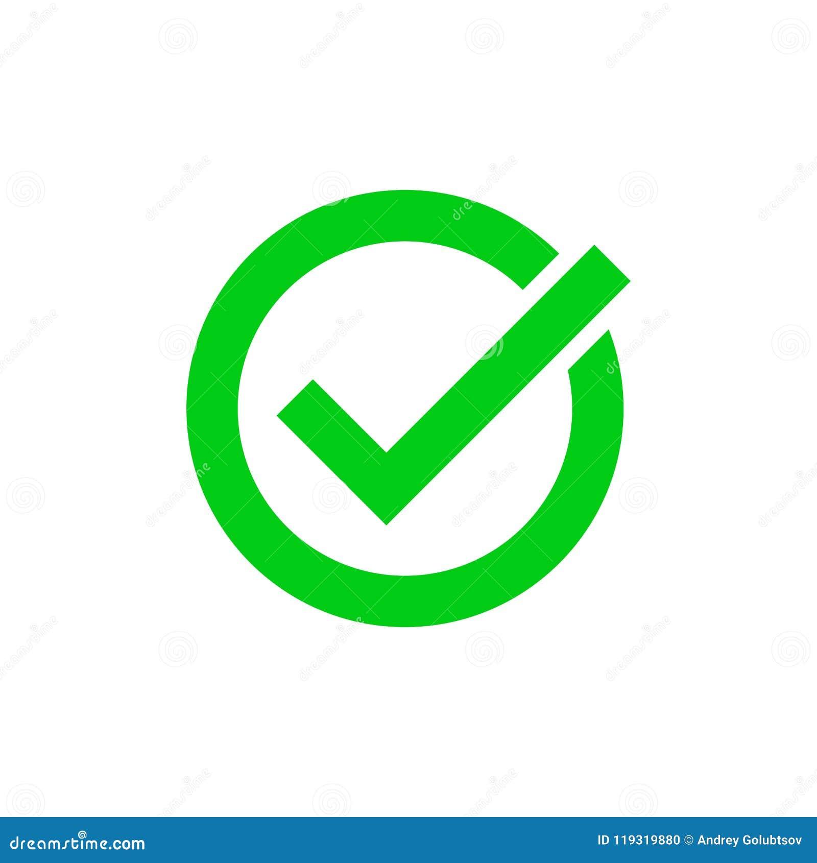 green tick marker checkmark vector circle icon stock vector