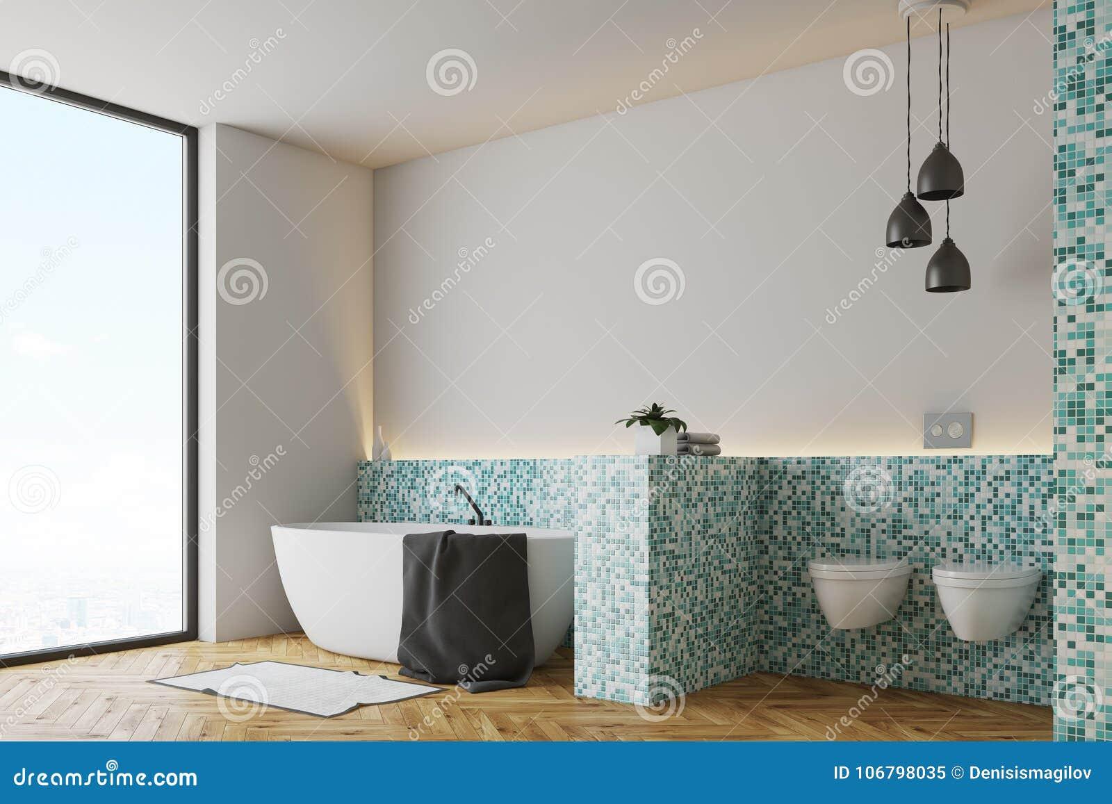 Green Tile Bathroom And Toilet Side Stock Illustration ...