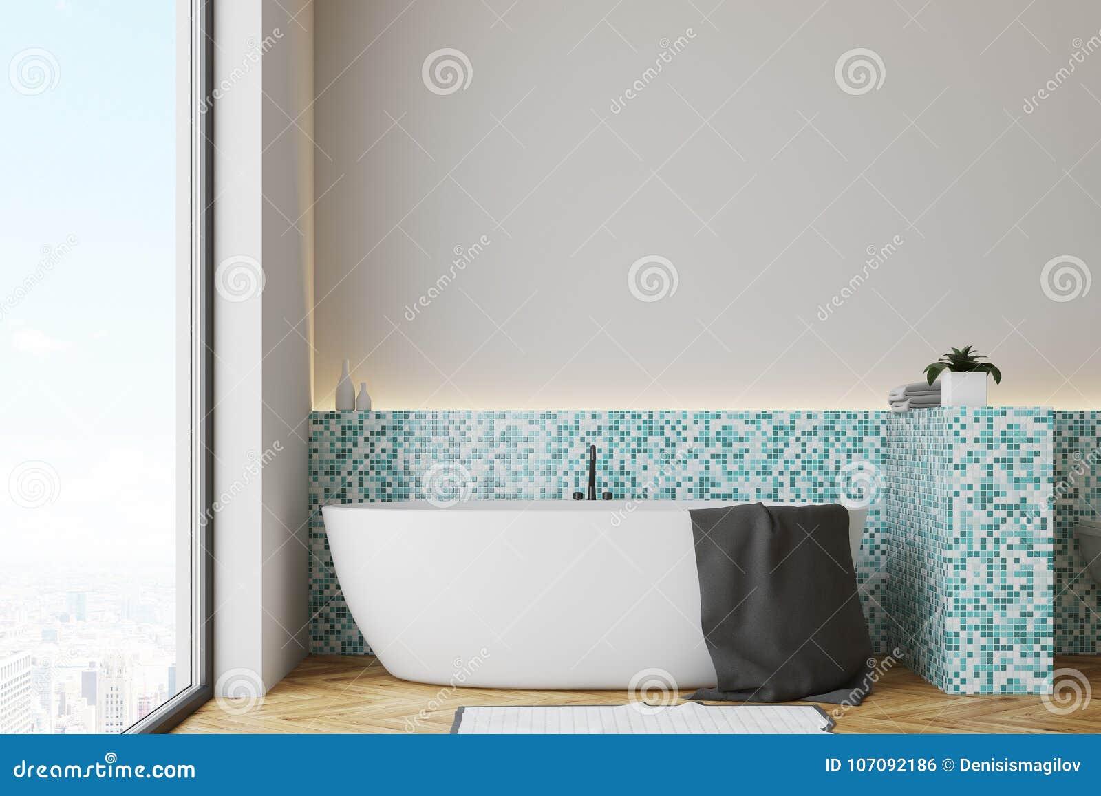 Green Tile Bathroom, White Tub Stock Illustration - Illustration of ...