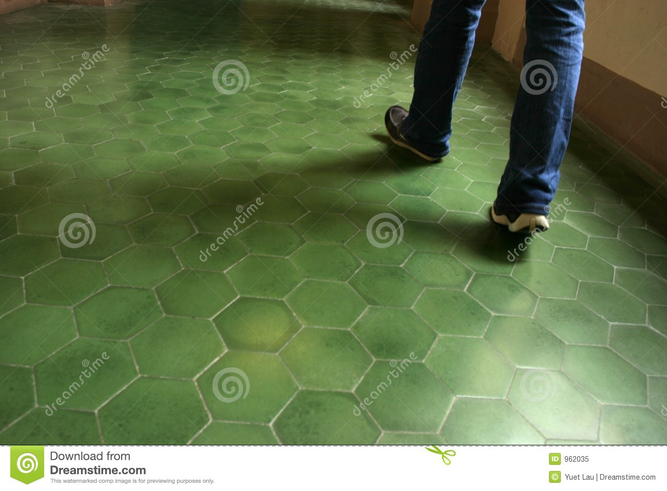 Green Tile Floor In An Ancient Building Stock Image
