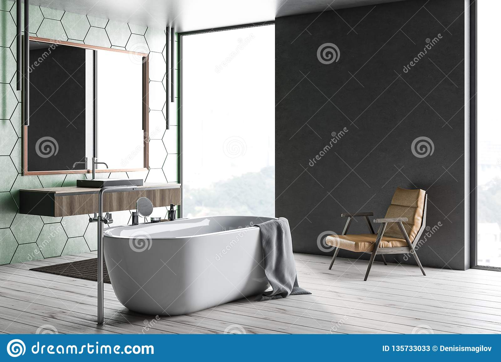 Green Tile And Gray Bathroom Tub And Sink Stock