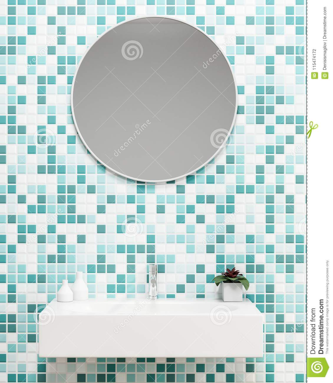 Green Tiles Bathroom With A Sink Close Up Stock Illustration ...