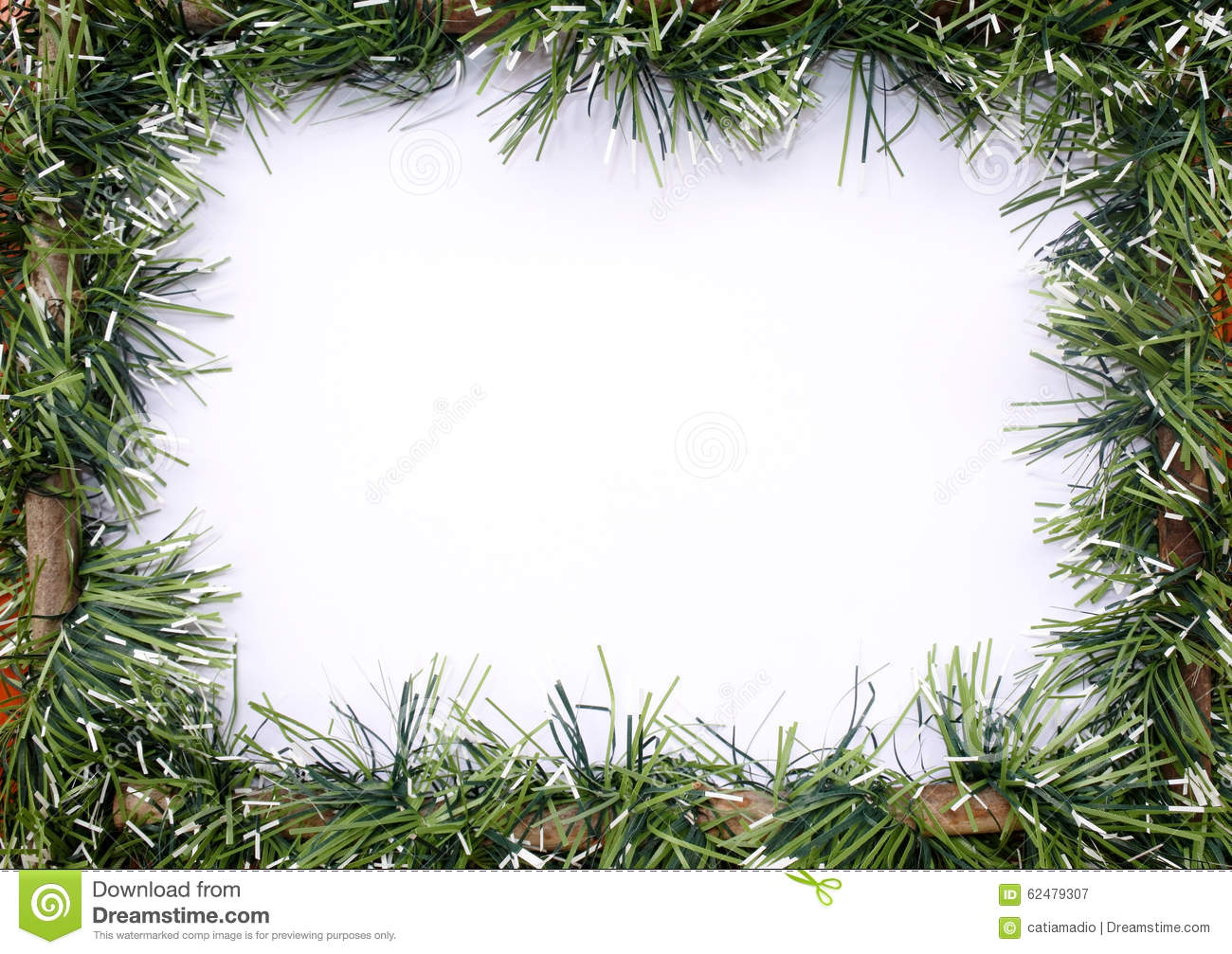 Green tinsel christmas garland stock image