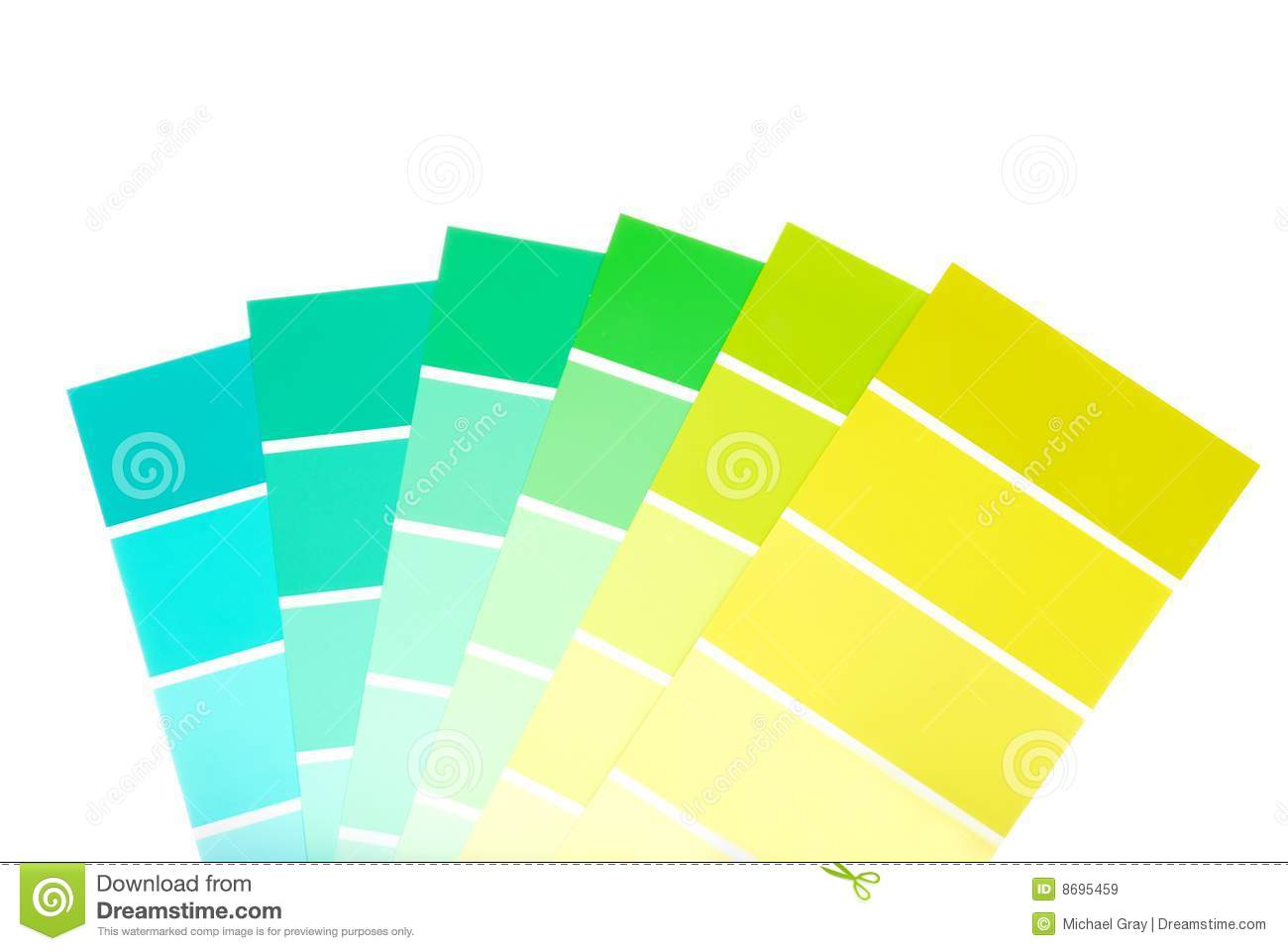 Green to blue color paint chips royalty free stock images for White chip paint color