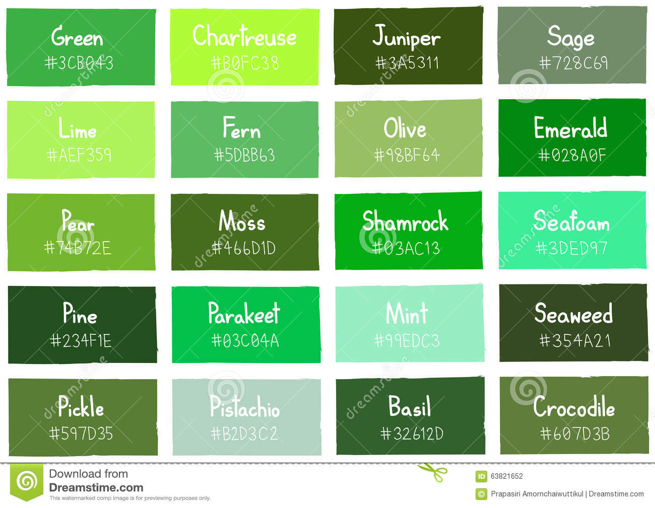 Green Tone Color Shade Background With Code And Name Stock
