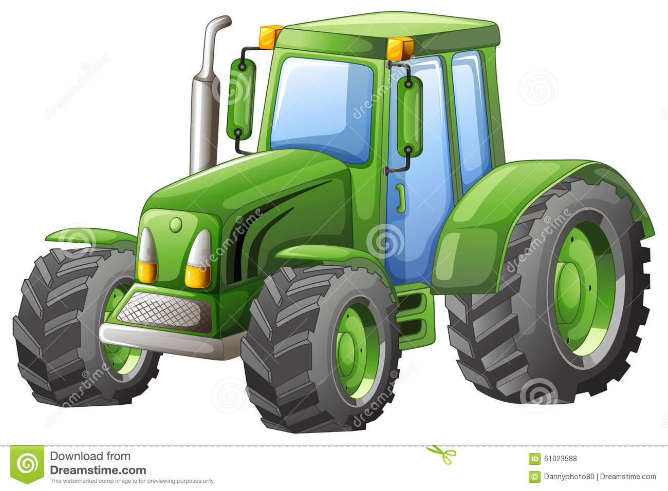 Large Tractor Wheels : Green tractor with big wheels stock illustration image