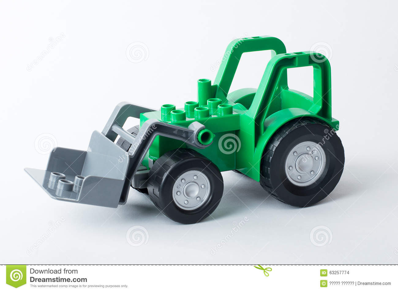 Up The Tractor Green Tractor With Bucket Cartoon : Green tractor with gray bucket on a white background stock