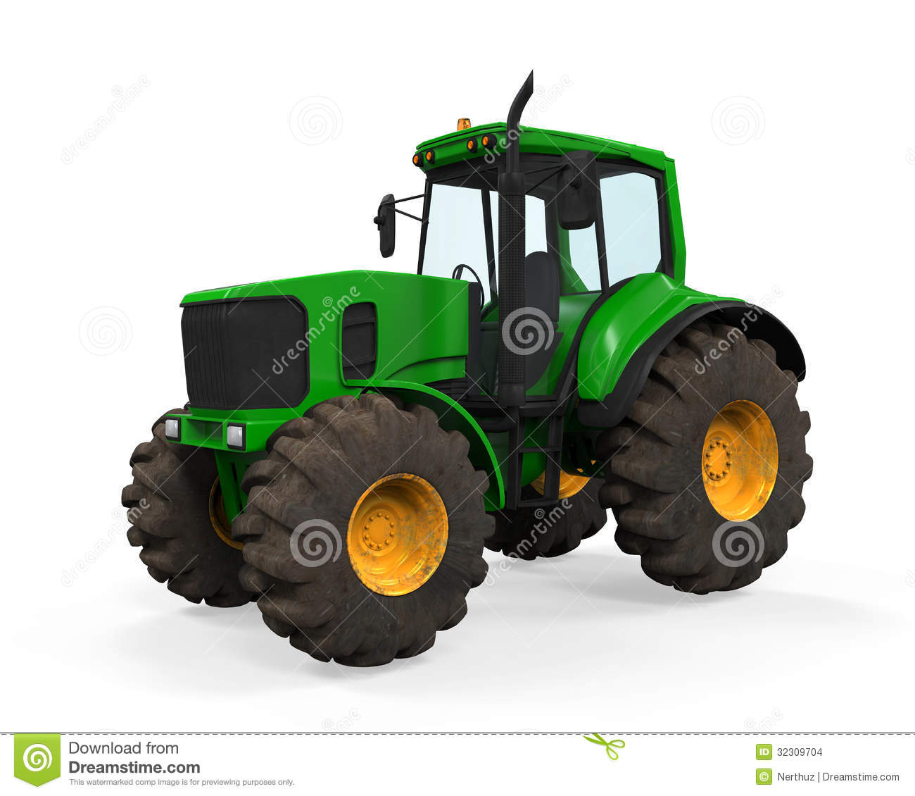 Green Tractor Isolated Stock Illustration Illustration Of