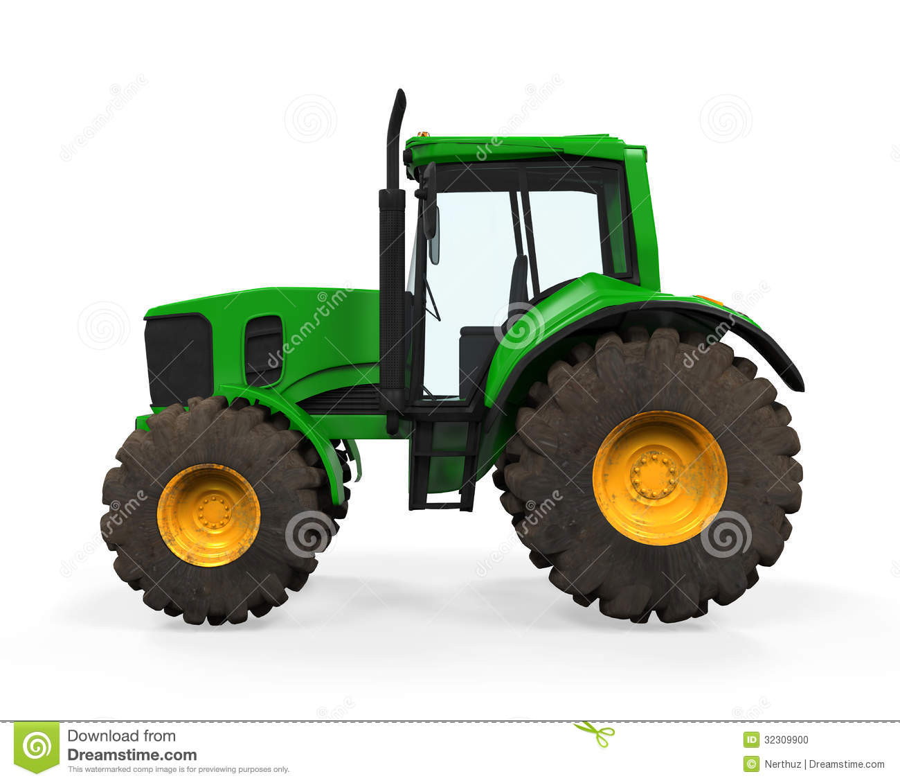 Farm Tractor Wheel Clip Art : Green tractor isolated stock photo image