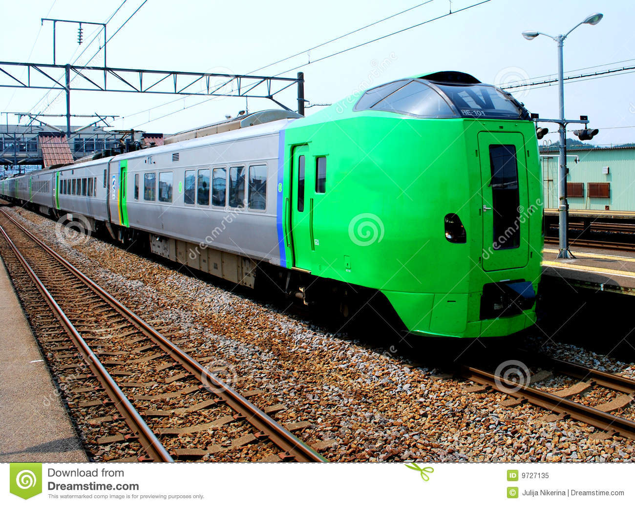 Green Train In Japan Royalty Free Stock Photo Image 9727135
