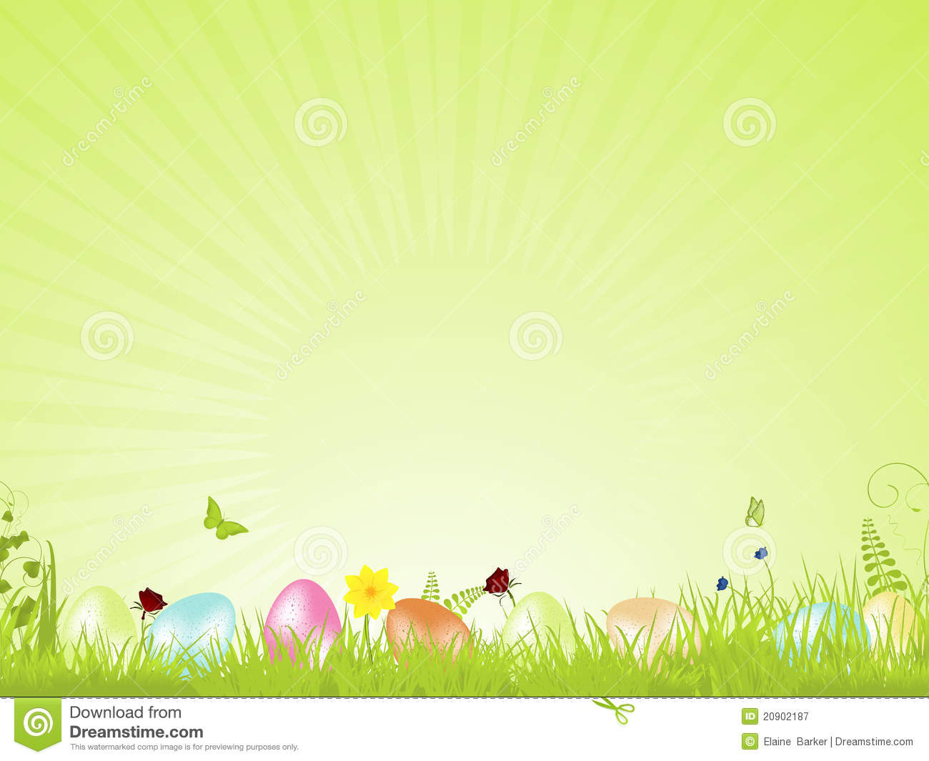 Green Tranquil Easter Background Stock Vector
