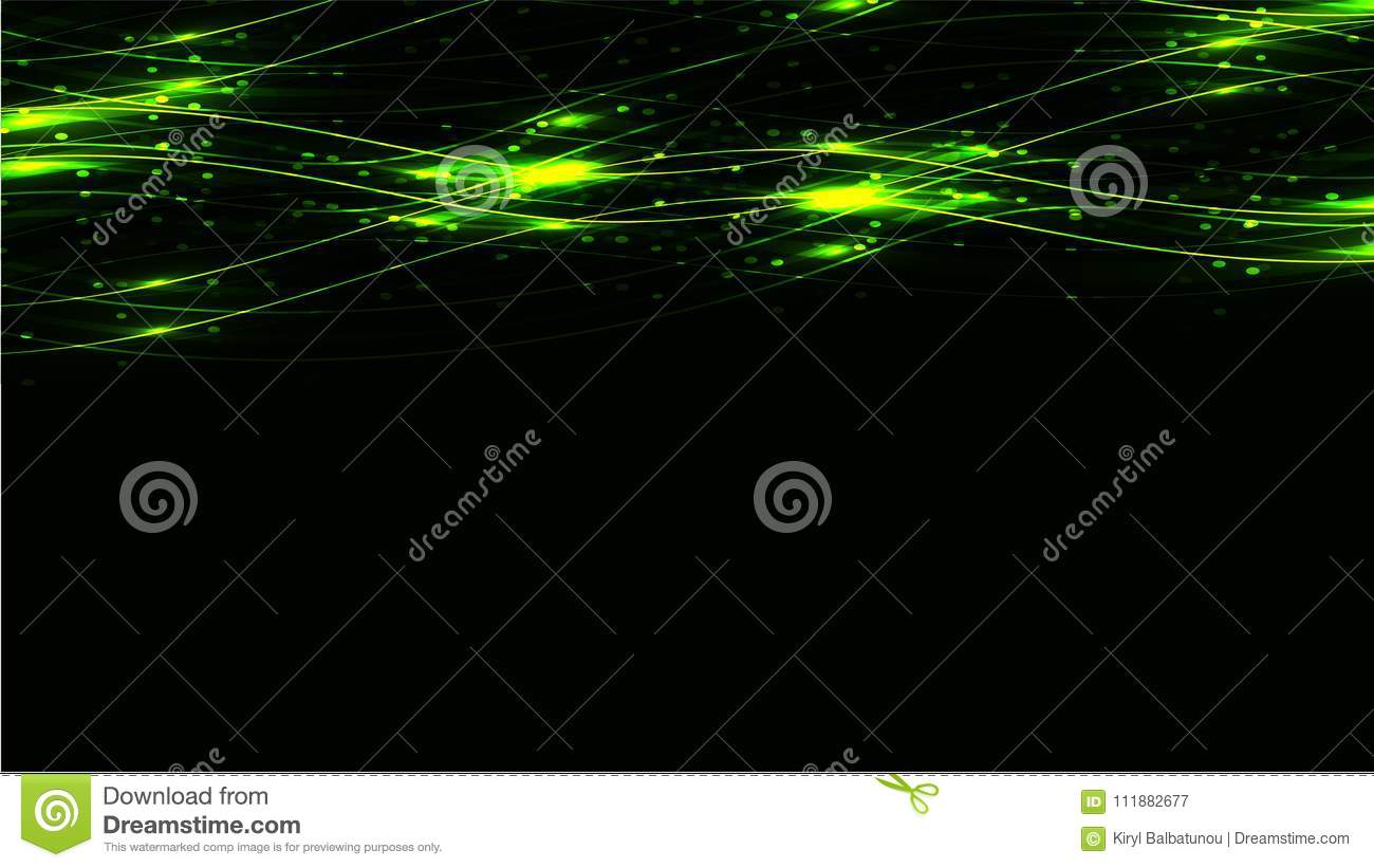 Green transparent abstract shining magical cosmic magical energy lines, rays with highlights and dots and light auroras on a dark