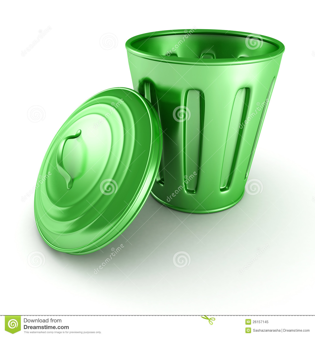 Green Trash Can Bin With Cover On White Background Royalty