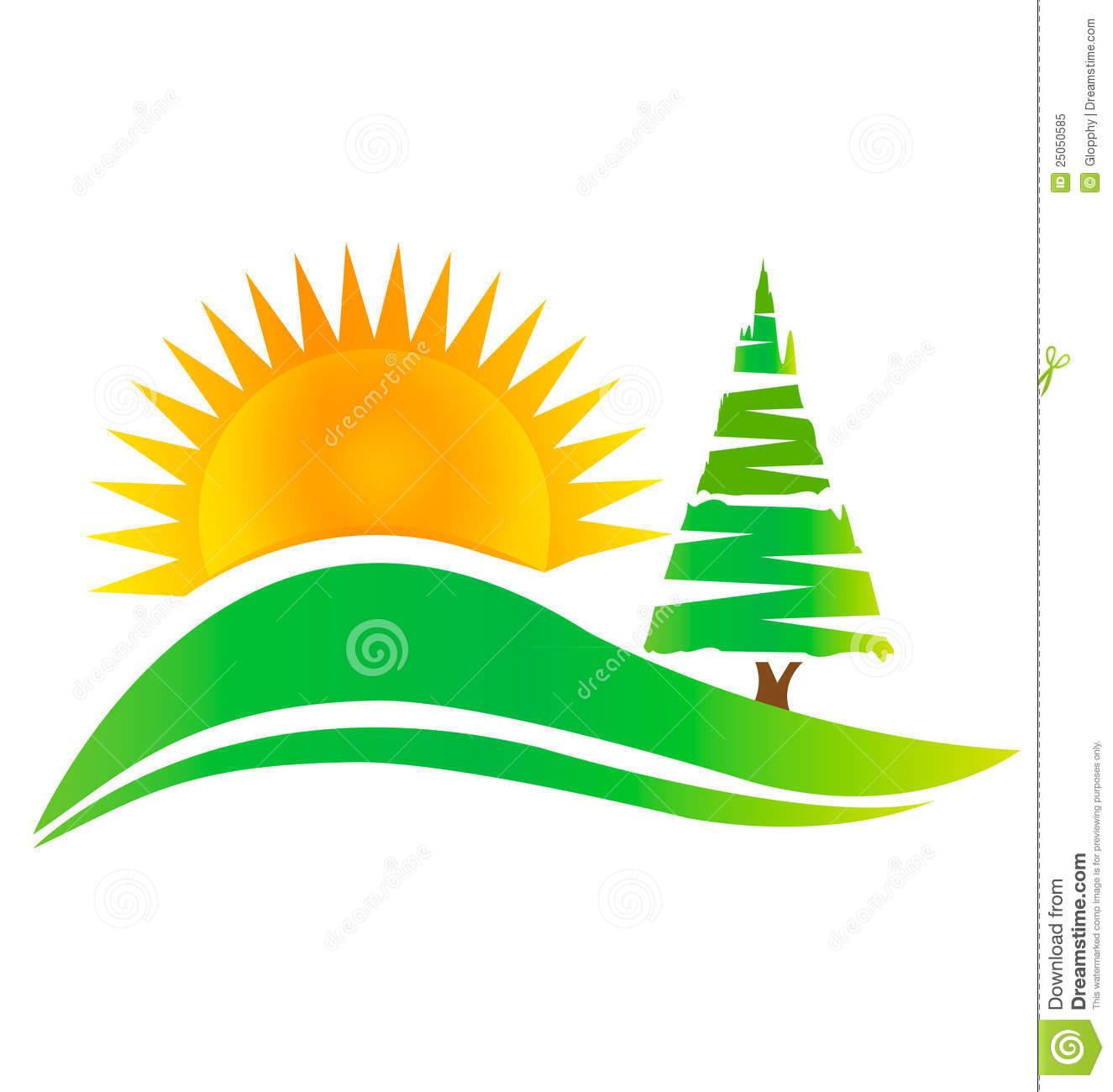 green tree hills and sun logo royalty free stock photo