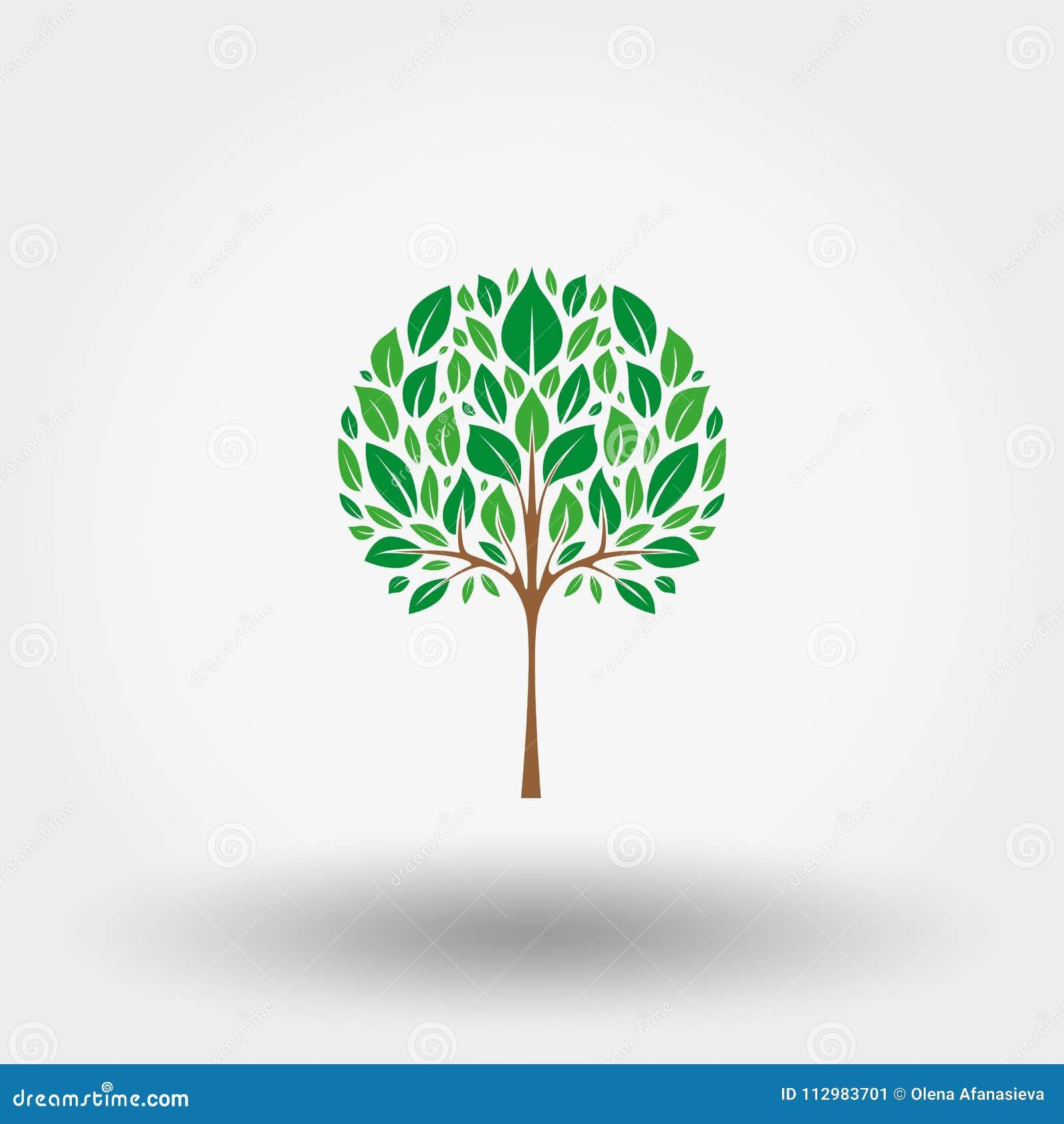 Green tree. Icon. Vector. Flat.