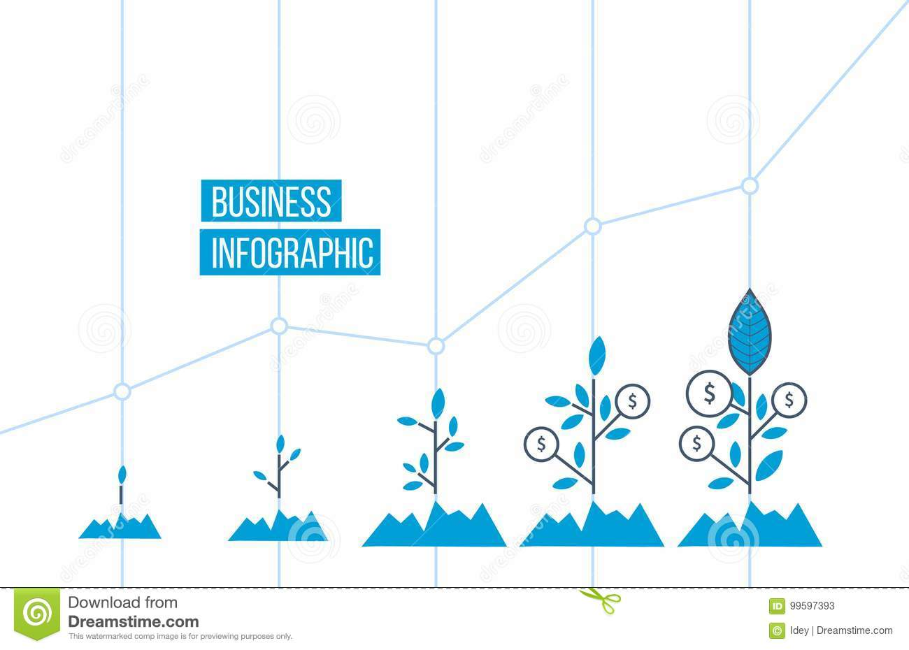 Green Tree With Leaf Growth Diagram Business Cycle