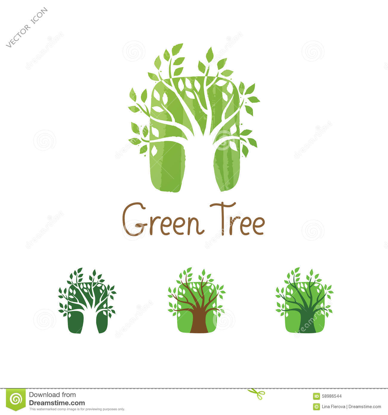 Green Tree Vector Logo Design Garden Concept Eco Icon Stock