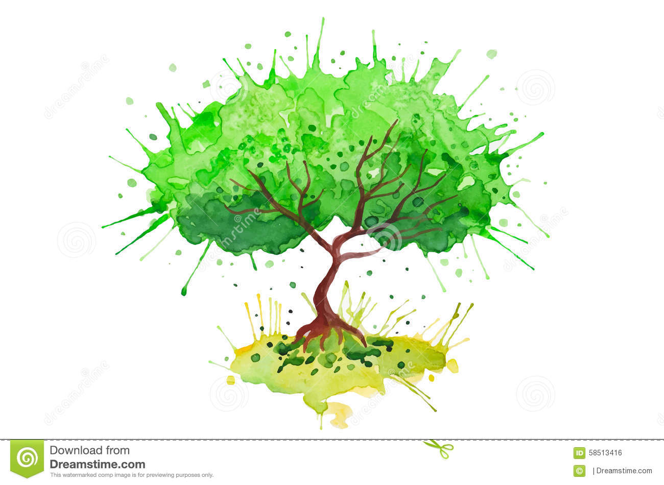 Green Tree Watercolor Vector Colorful Background Stock Vector ...
