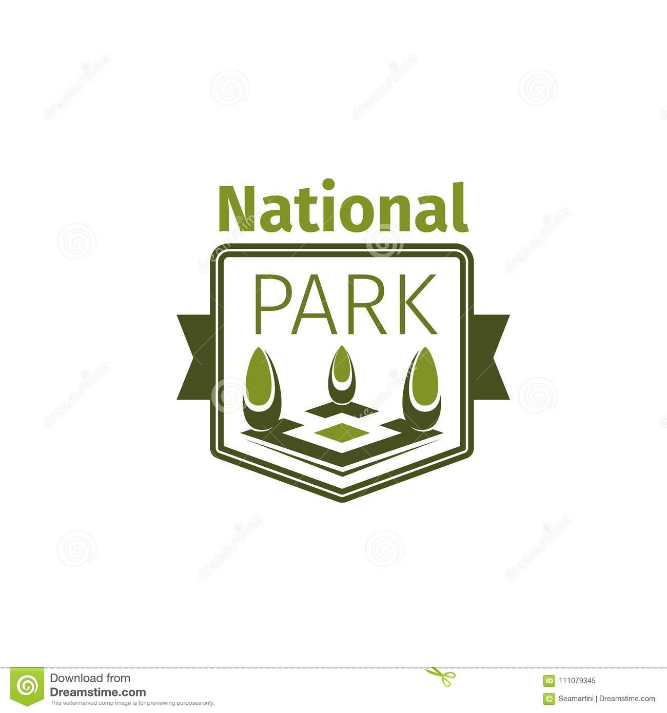 Green Trees Vector Icon For National Park Stock Vector