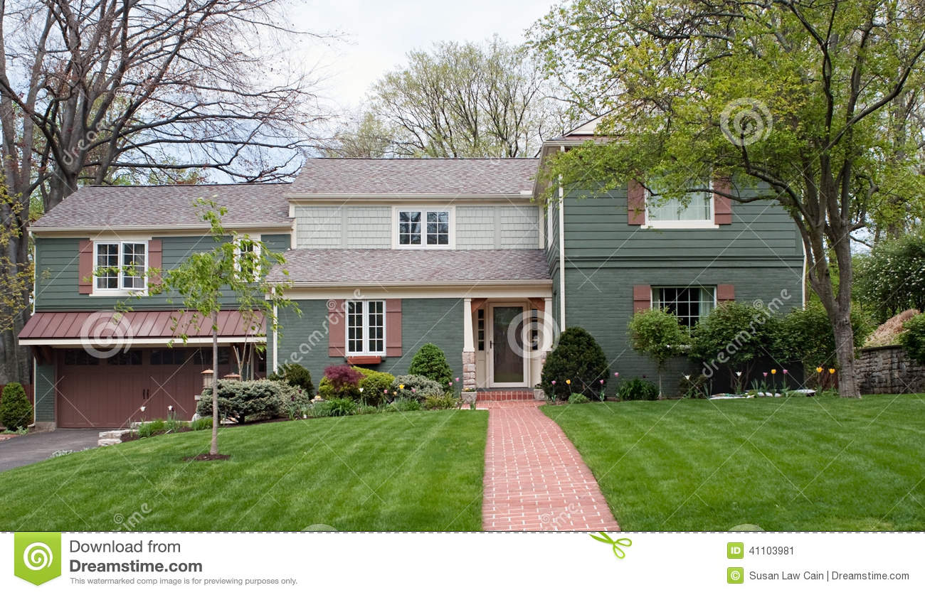 Green Tri Level House Stock Photo Image 41103981