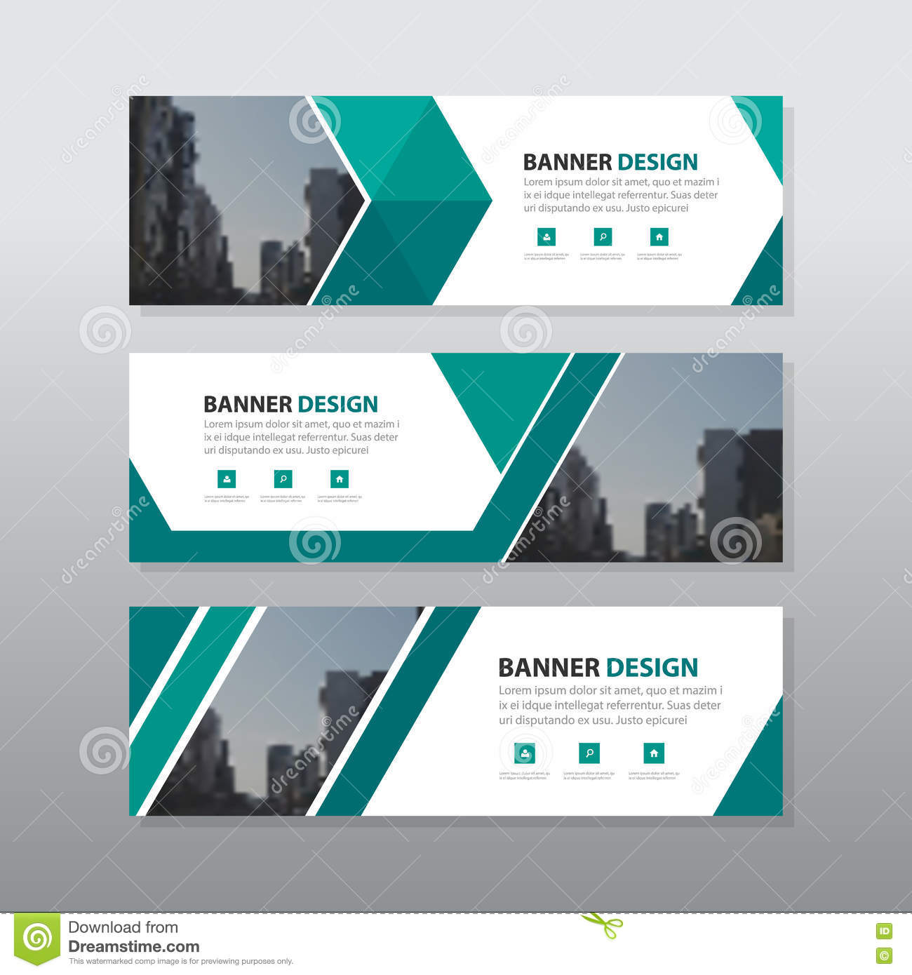 green triangle abstract corporate business banner template horizontal advertising business banner layout template flat design set - Template