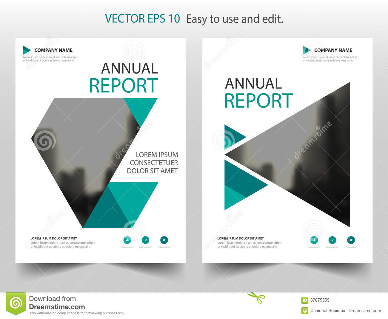 Green triangle annual report Leaflet Brochure Flyer template design, book cover layout design, abstract business presentation