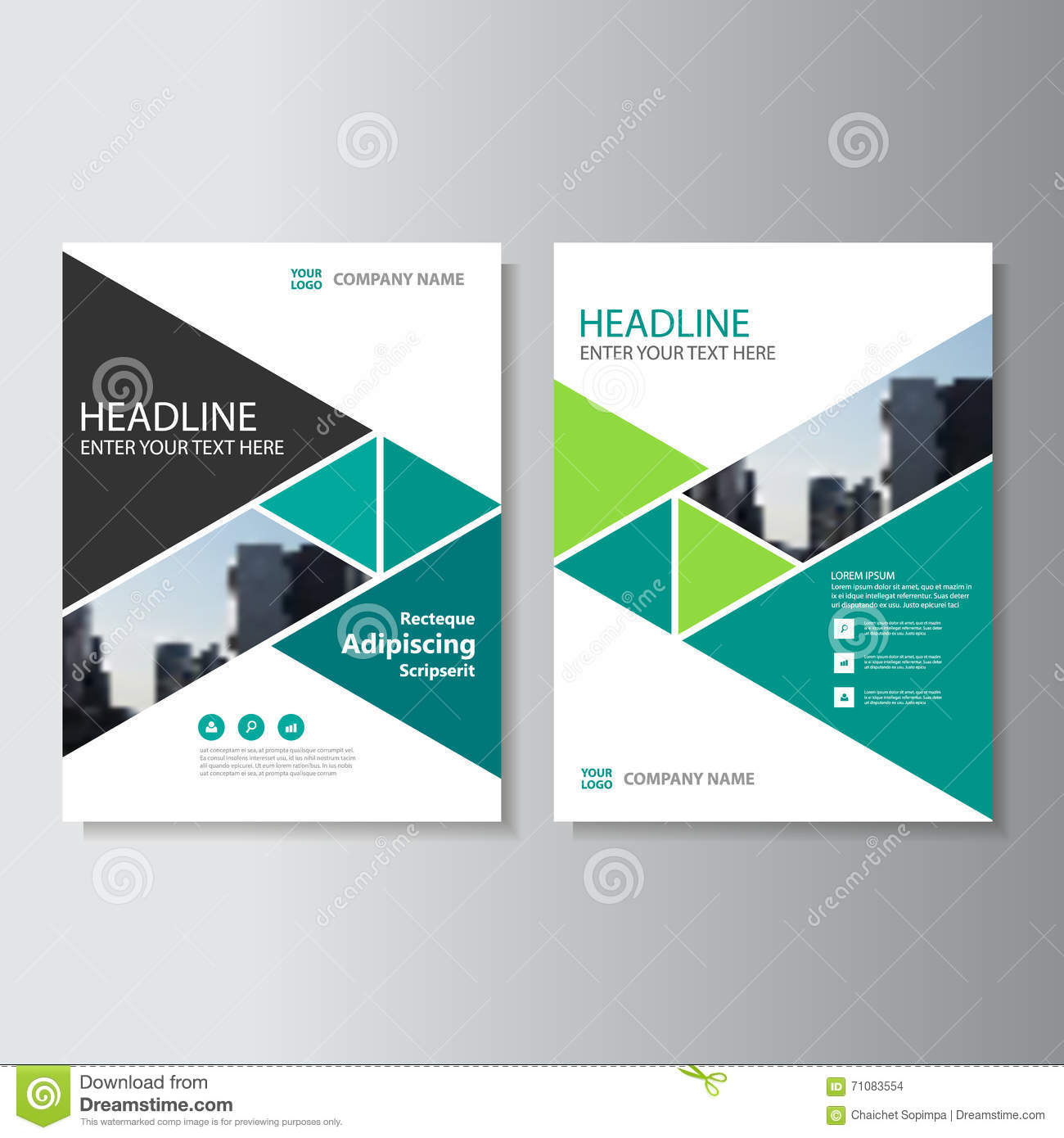 Book Cover Design Layout Template : Green triangle vector annual report leaflet brochure flyer