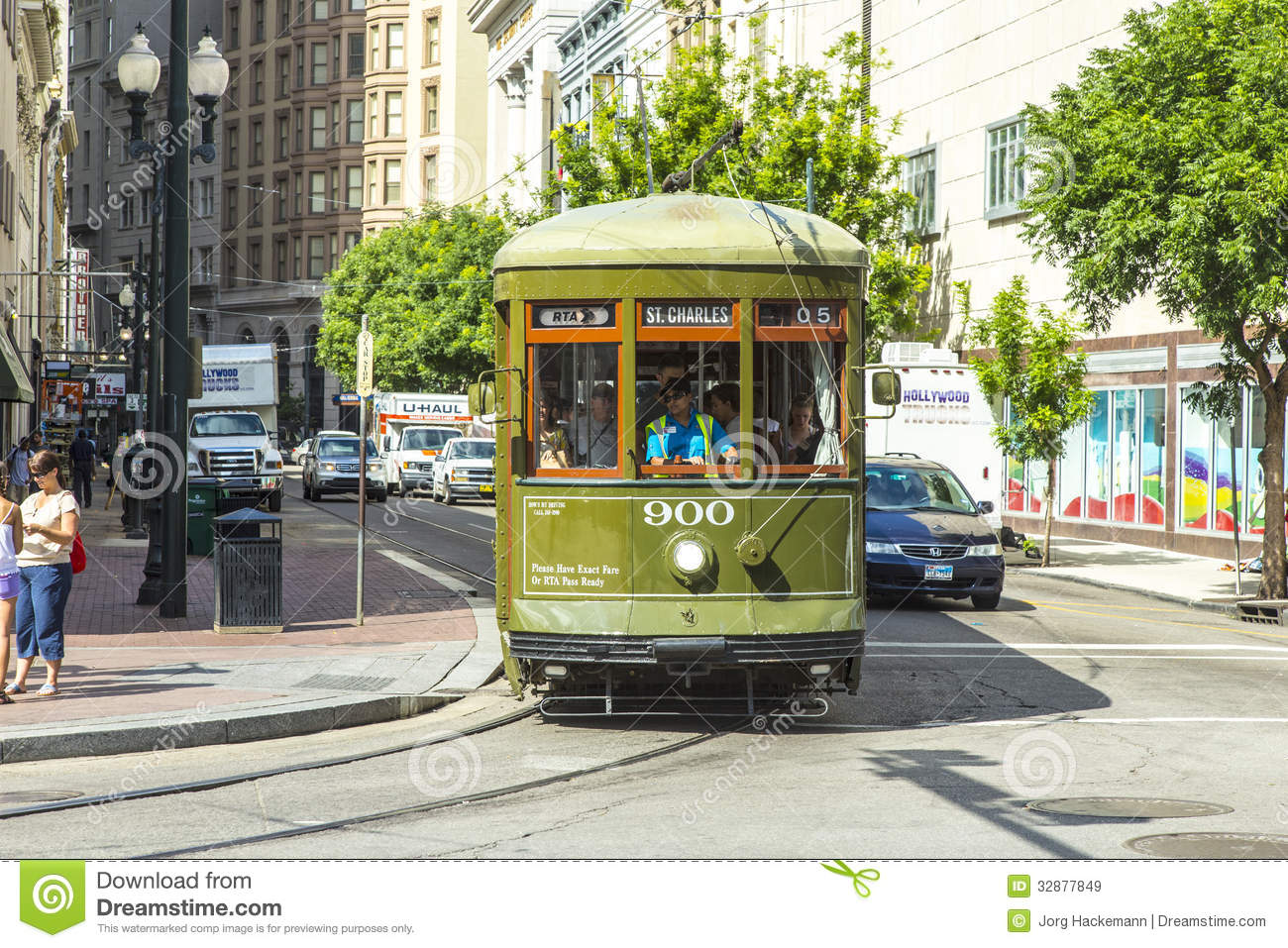 Green Trolley Streetcar On Rail Editorial Stock Image - Image ...