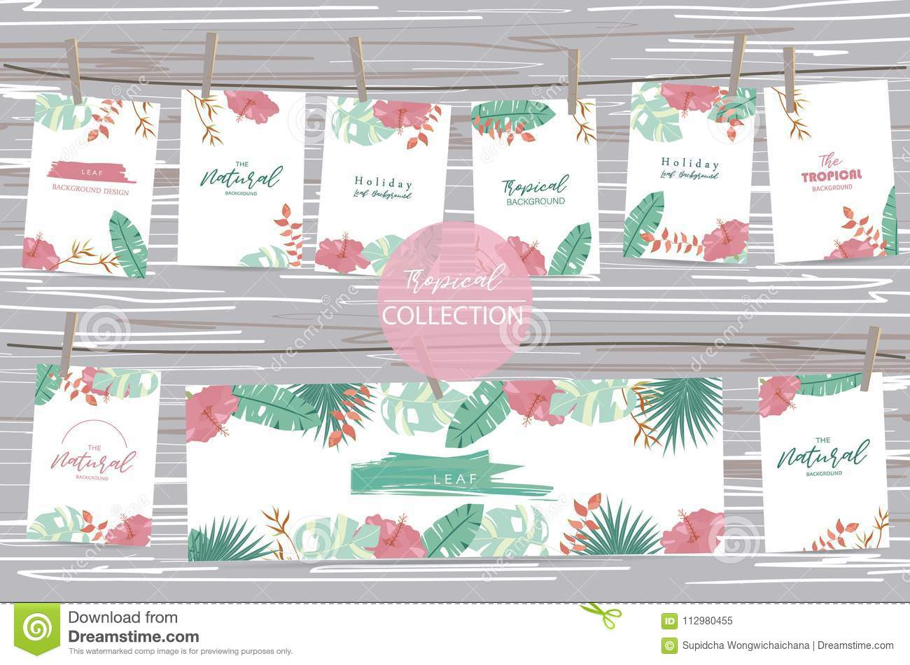 Green tropical greeting card with palm, coconut tree,hibiscus