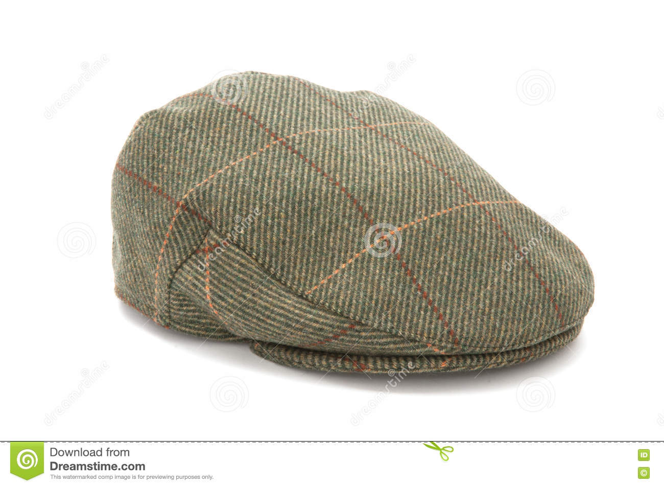 bff50266a09 Green Tweed Hunting Flat Cap Stock Image - Image of sport