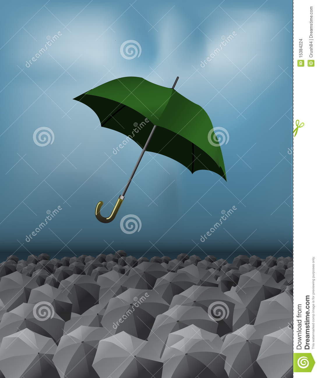 Green Umbrella over Crowd of Umbrellas